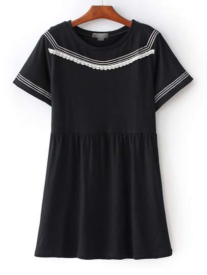 Black Stripe Trim Crochet Shift Dress