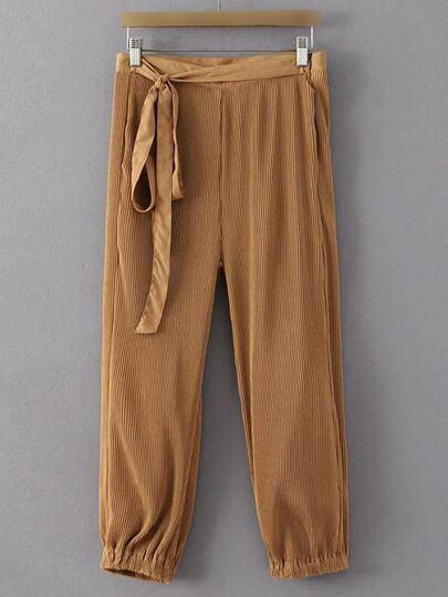 Brown Self Tie Zipper Side Pocket Bloomers