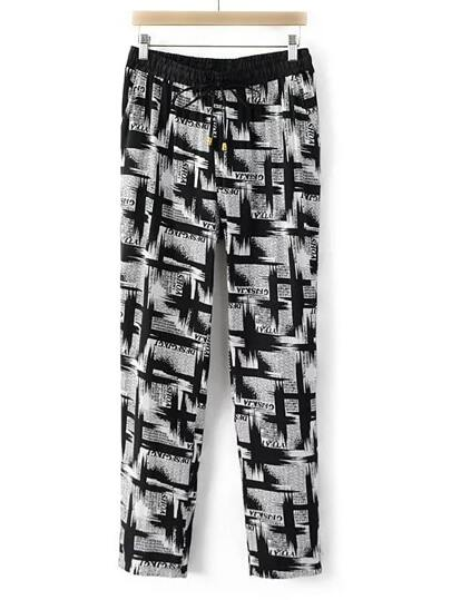 Black And White Drawstring Waist Printed Pocket Pants
