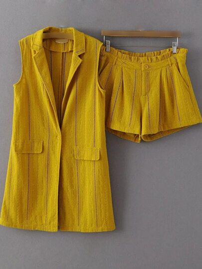 Yellow Lapel Blazer With Zipper Shorts
