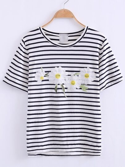 Black And White Flower Applique Stripe T-shirt