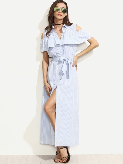 Blue Striped Cold Shoulder Ruffle Tie Waist Long Dress
