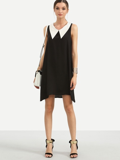 Black Contrast Collar Sleeveless Swing Dress