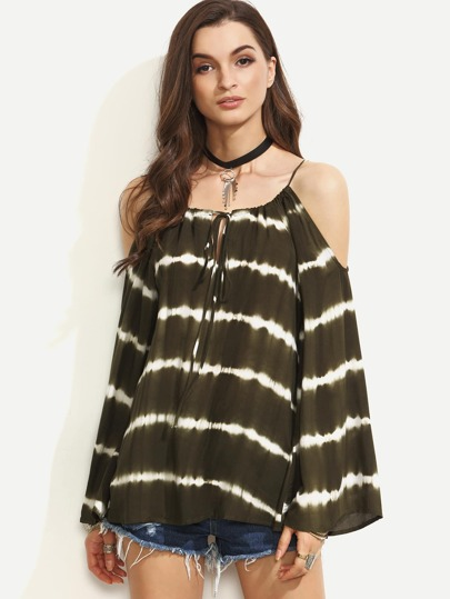 Army Green Cold Shoulder Tie Dye Lace Up Top