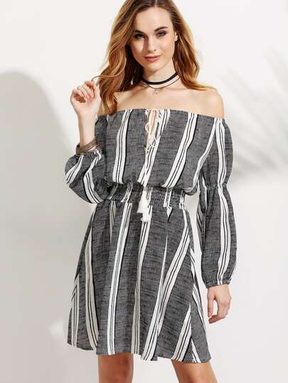 Off The Shoulder Vertical Striped Lace Up Elastic Waist Dress