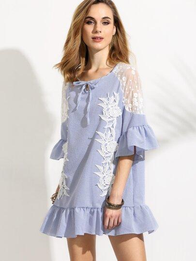 Blue Vertical Striped Mesh Shoulder Crochet Applique Ruffle Dress