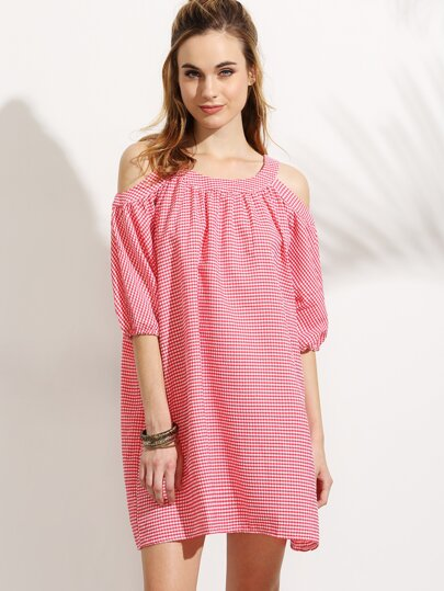 Red Checkerboard Cold Shoulder lantern Sleeve Dress