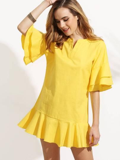 Yellow V Cut Tiered Ruffle Dress