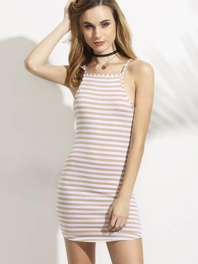 Camel Striped Racerback Cami Bodycon Dress