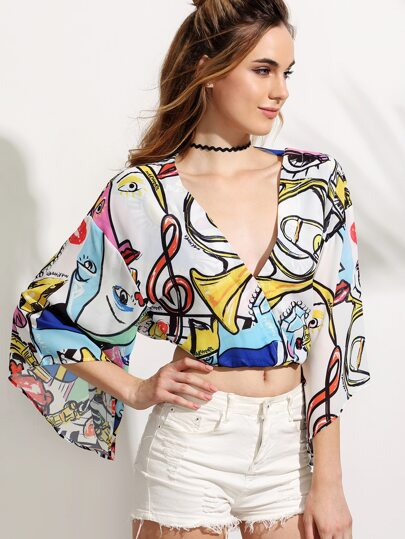 Painting Print Surplice Front Drop Shoulder Blouse