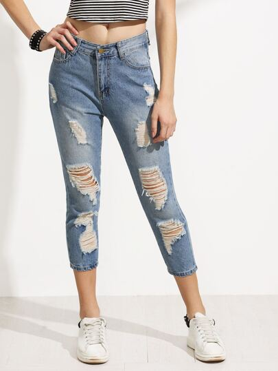 Blue Ripped Slim Jeans