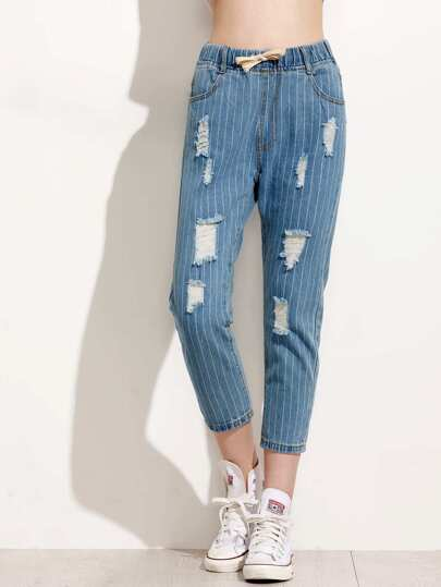 Vertical Striped Ripped Jeans