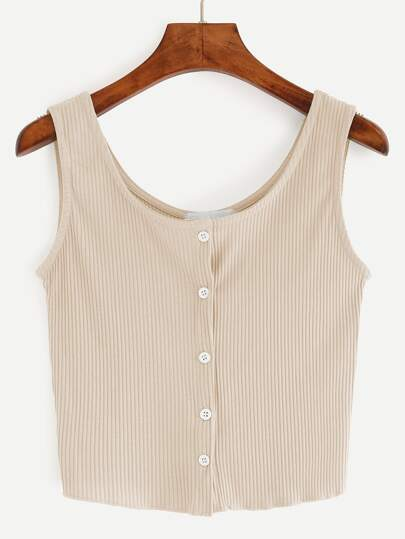 Beige Button Front Ribbed Tank Top