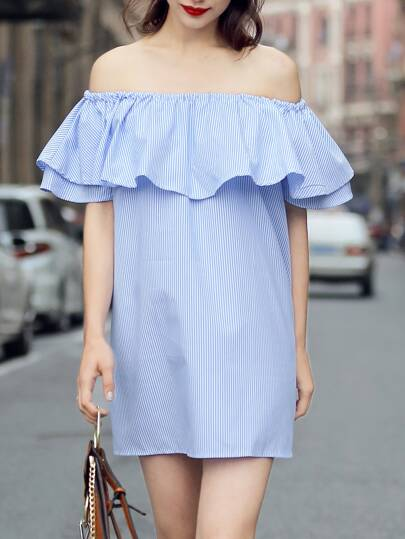 Blue Vertical Striped Ruffle Off The Shoulder Dress