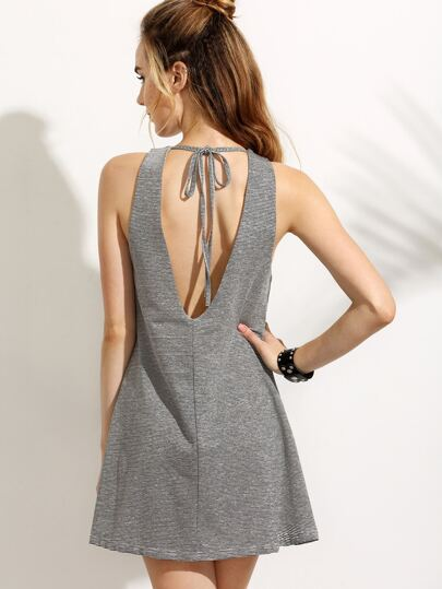 Grey Cut Out Back Lace Up A-Line Dress