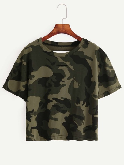 Olive Green Ripped Crop T-shirt