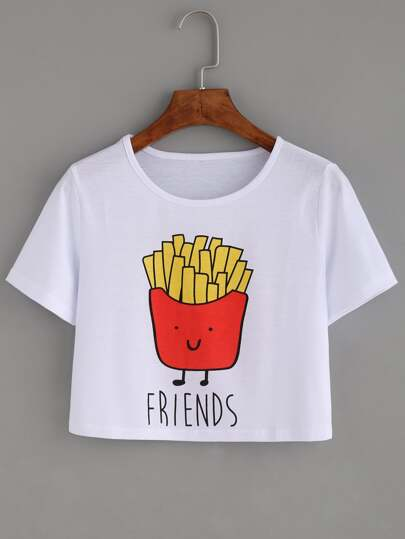 White Fried Chips Print Crop T-shirt