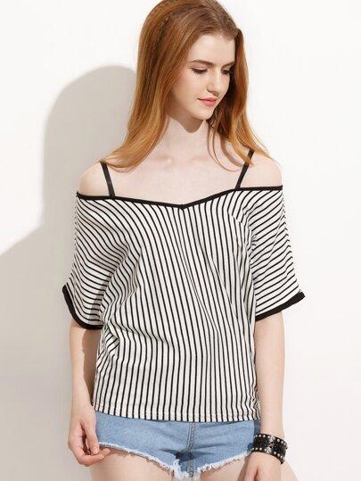 White Vertical Stripe Contrast Trim Cold Shoulder Top