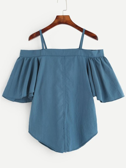 Blue Cold Shoulder Ruffle Sleeve Blouse