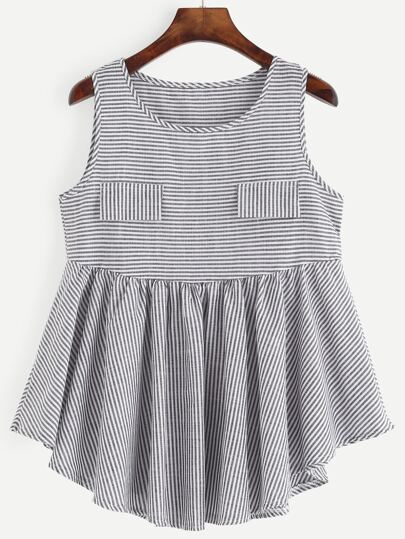 Black White Striped Ruffled Top With Faux Pocket