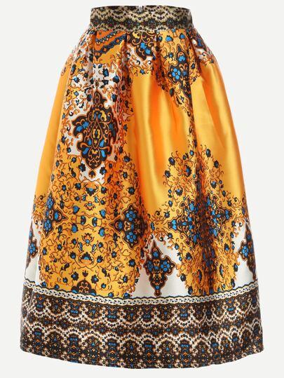 Yellow Retro Print Box Pleated Skirt