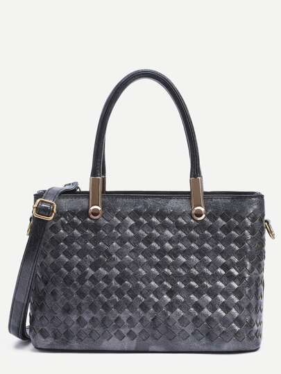 Black Faux Leather Braided Satchel Bag