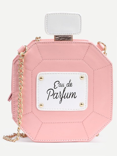 Pink Perfume Bottle Bag With Chain