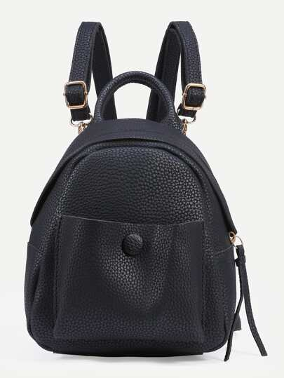Black Pebbled Faux Leather Backpack