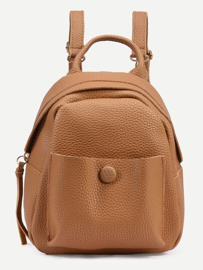 Camel Pebbled Faux Leather Backpack