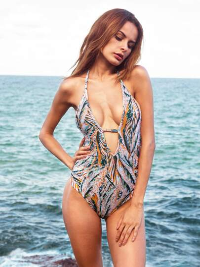 Multicolor Tropical Print Deep V Neck Cutout Swimwear