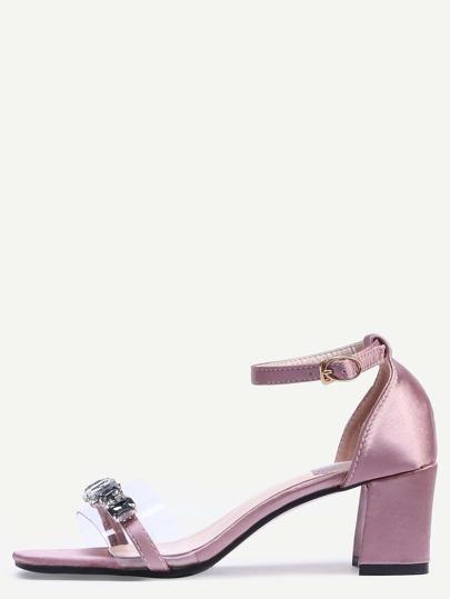 Sandalias peep toe apliques correa de hebilla grueso - rosa