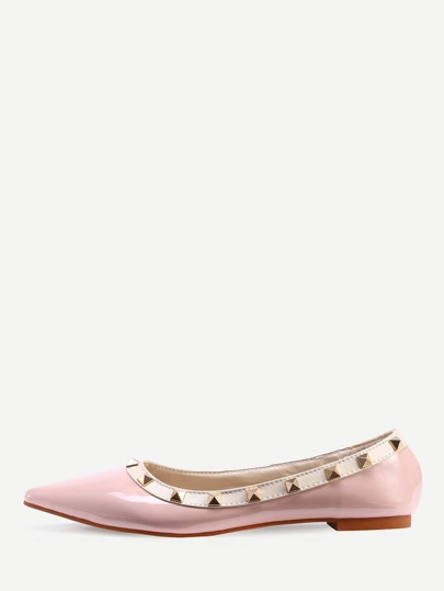 Ballerines bout pointu avec rivets - rose