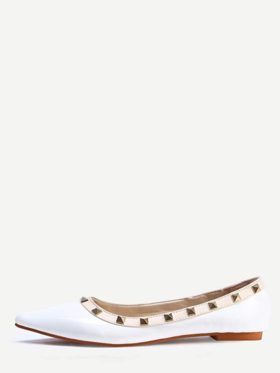 Ballerines bout pointu avec rivets - blanc
