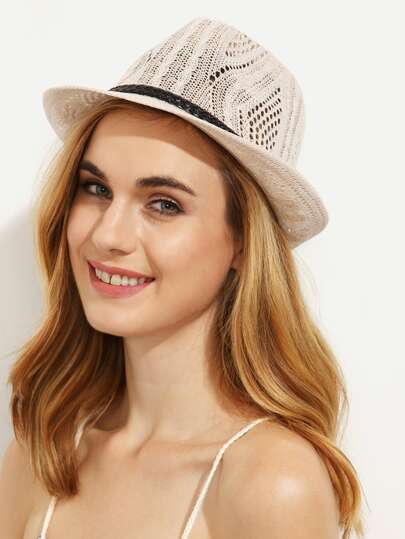 Beige Braided Strap Trim Hollow Fedora Hat