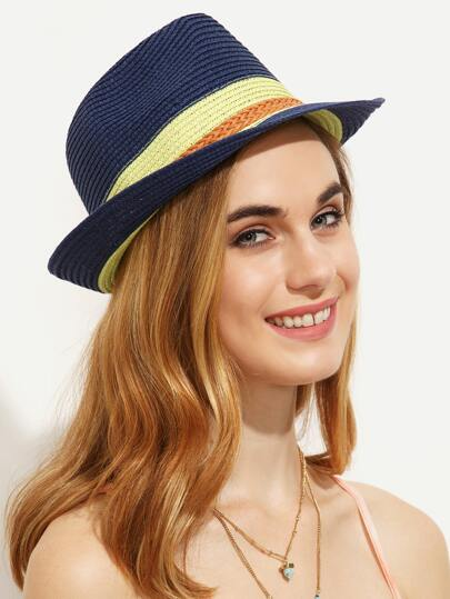 Braided Trim Straw Fedora Hat