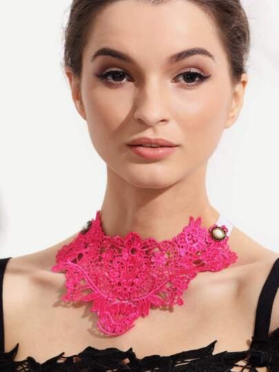 Hot Pink Crochet Choker Necklace