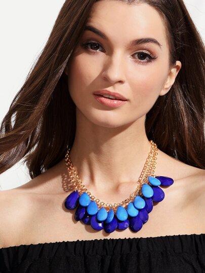 Two-layer Gemstone Statement Necklace