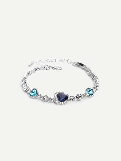 Heart-shaped Rhinestone Bracelet