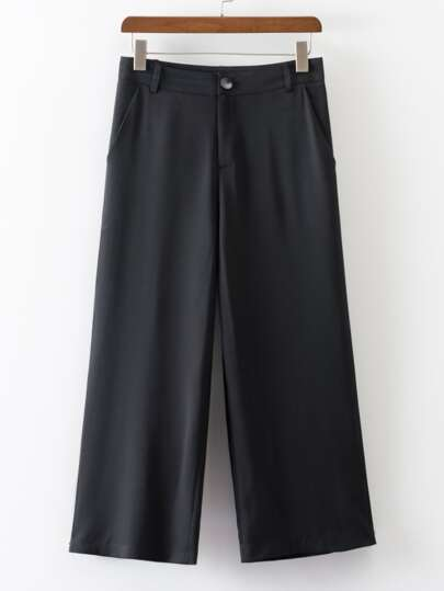 Black Pocket Straight Pants