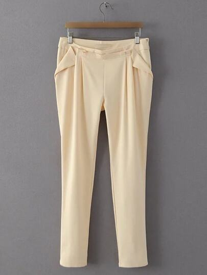 Apricot Zipper Side Harem Pants