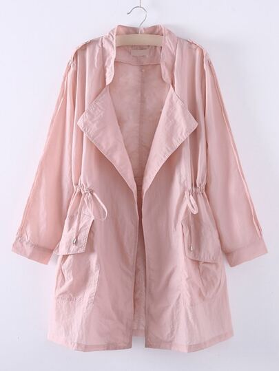 Pink Asymmetric Elastic Waist Pocket Coat