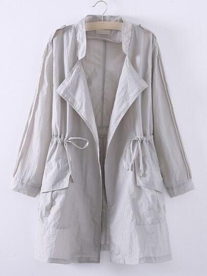 Grey Asymmetric Elastic Waist Pocket Coat