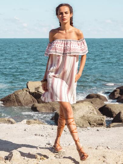 Multicolor Print Ruffle Off The Shoulder Dress