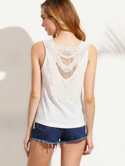 White Crochet Back Tank Top