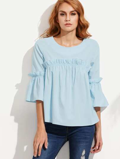 Blue Ruffle Bell Sleeve Blouse