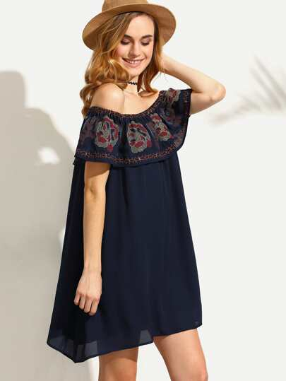 Navy Embroidered Ruffle Off The Shoulder Dress