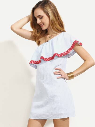 Blue Striped Tape Trim Ruffle One Sleeve Dress