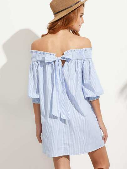Blue Striped Bow Back Off The Shoulder Dress