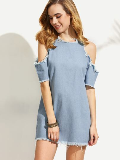 Blue Raw Trim Zipper Back Cold Shoulder Dress