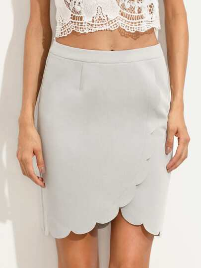 Grey Zipper Back Scallop Trim Skirt